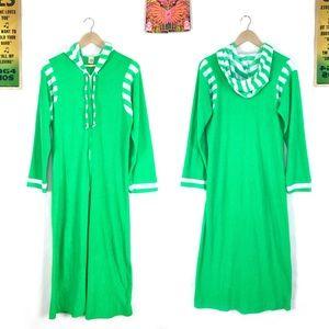 Vintage 70s hooded caftan robe striped maxi dress